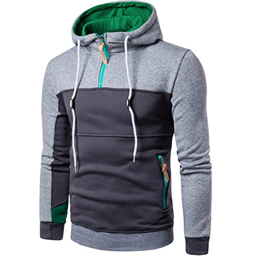 Leyorie Boy Fashion Hoodie Patchwork Long Sleeve Men Pullover Sweater Coat Stand...