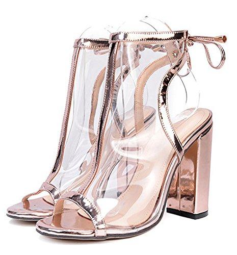 Peep Damen Toe Elegant Schnürung Sandale Gold Sommerstiefel Transparent Aisun Bloockabsatz Z1qvE