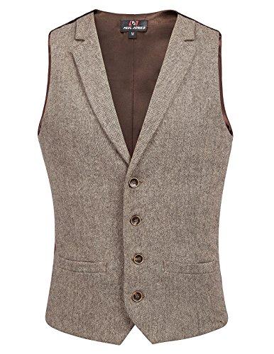 - PAUL JONES Men's Dress Wests Waistcoat WoolTweed Business Suit Vest Coffee