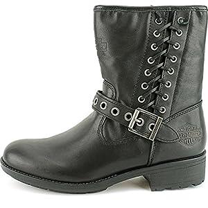 "Harley-Davidson Womens Angelita 6.5"" Motorcycle Boot Black Leather D83771 6.5"