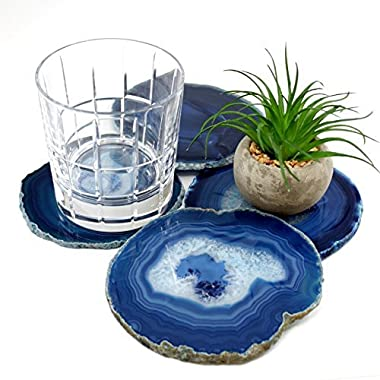Gift Set of Four Genuine Brazilian 4.5 -5  Blue Agate Coasters