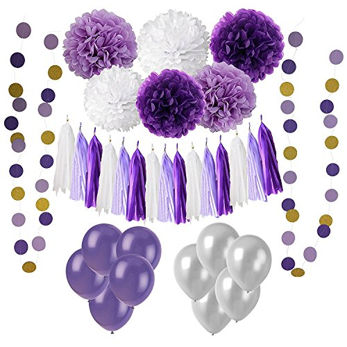 Wartoon 43 Pcs Paper Pom Poms Flowers Tissue Balloon Tassel Garland Polka Dot Paper Garland Kit for Birthday Wedding Party Decorations - Purple and Lavender,White for Mother's Day]()