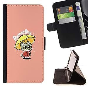 King Case - FOR Apple Iphone 6 PLUS 5.5 - ?when you are sad - Prima caja de la PU billetera de cuero con ranuras para tarjetas, efectivo Compartimiento desmontable y correa para la mu?eca