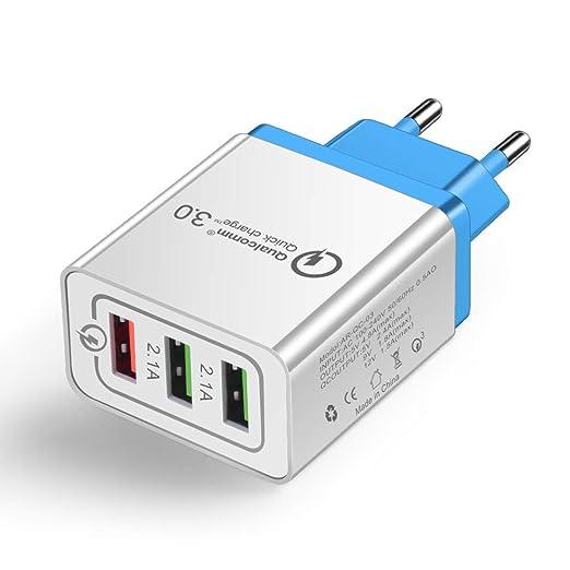 OWEM Cargador USB Pared con 3 Puertos USB, Quick Charge 3.0 ...