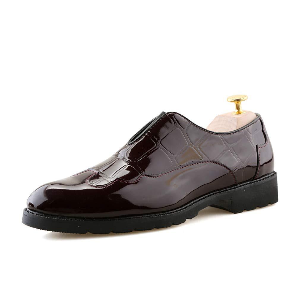 Zapatos Oxford con Estampado de Cuero de Patente de los nuevos Hombres 43 EU|Marrón