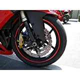 """CaliBikerClub Red Reflective Wheel Rim Stripe Decal Tape for Motorcycle Wheels 17"""" or Car Wheels 16""""-18"""""""