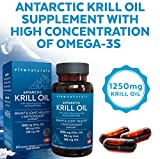 Krill Oil Supplement - Antarctic Krill Oil 1250 mg, Crill Oil Omega 3 with Astaxanthin, DHA Supplements for Joint and Brain Health, No Fishy Taste & Easy to Swallow, 60