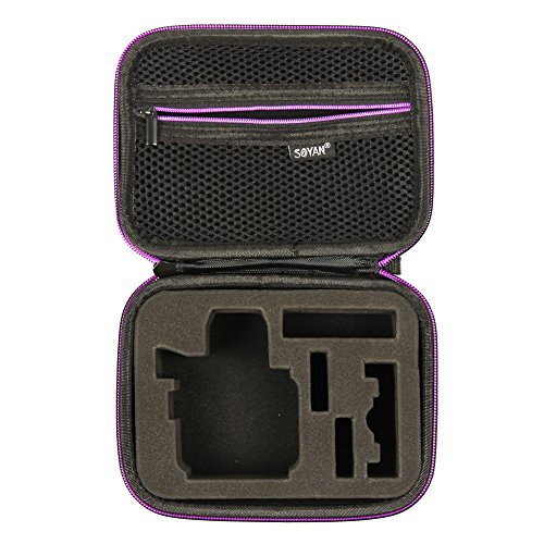 Soyan Small Carrying Case for GoPro Hero 5/4/3+/3/2/1 Sports Action Camera and Accessories (Black and Purple)