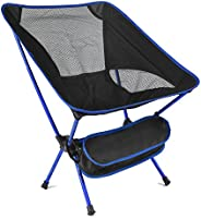 Outdoor Fishing Chair Folding Camping Portable Carry Supports 220lbs of Aircraft-Grade Aluminum (Black)