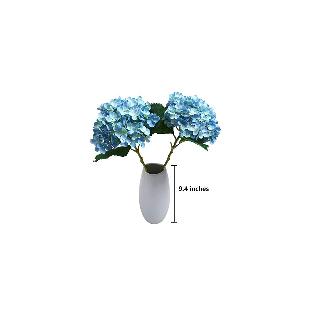SHACOS Artificial Silk Hydrangea Flowers Set of 2 Hydrangea Stems 21″ Tall x 7″ Bloom for Home Wedding Table Centerpiece (2 Bunches, Blue)