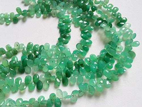 KALISA GEMS Beads Gemstone 1 Strand Natural Chrysoprase Faceted Pear Briolettes, Chrysoprase Necklace, 5x7mm - 6x8mm, 14