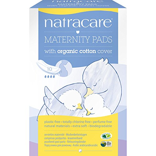 Natracare Organic Maternity Pads Natural - Natracare New Mother Natural Maternity Pads With Organic Cotton Cover - Chlorine Free - 10 Pads (Pack of 4)