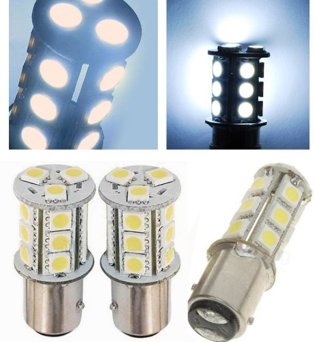 Autolizer 1157 BAY15D 2357 7528 18-SMD 5050 LED Turn Signal Light Side Marker Dome License Plate Reverse Bulbs (White)