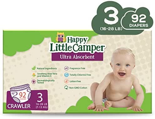 Happy Little Camper x Hilary Duff Ultra-Absorbent Hypoallergenic Natural Baby Diapers with Bio-Core Blend and Strong Latex and Chlorine-Free Protection, Size 3, 92 Count