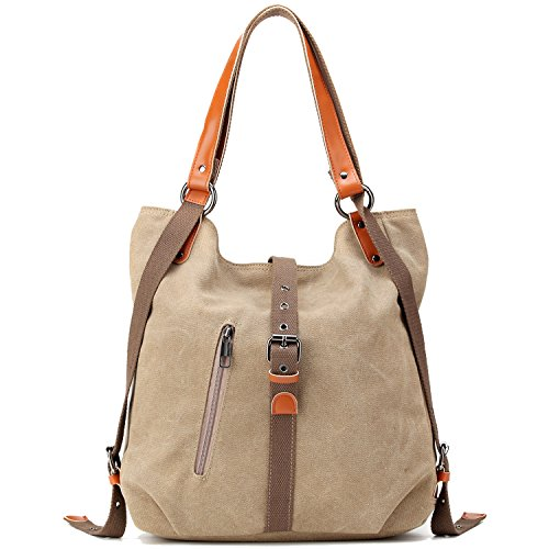 Women Canvas Shoulder Bag Multifunction Backpack Purse Crossbody Travel Daypack (Khaki) by CAMTOP