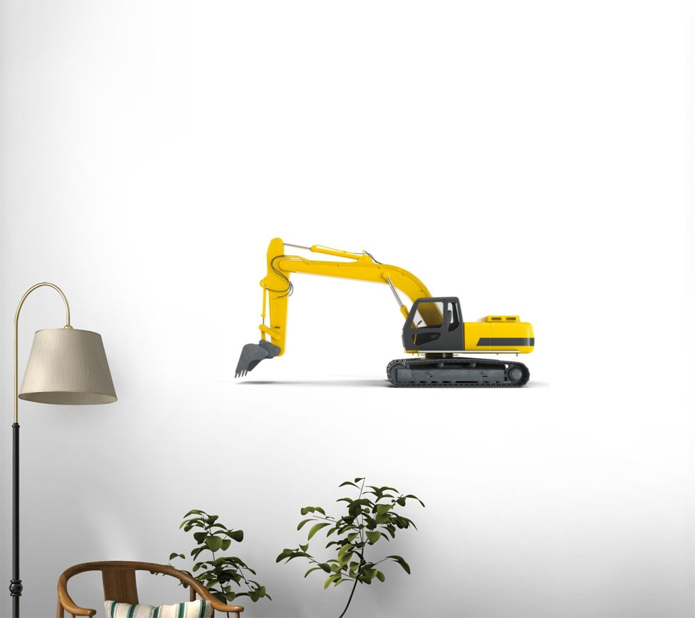 30 in W x 17 in H Wallmonkeys Excavator Background Left View Wall Decal Peel and Stick Graphic WM215529