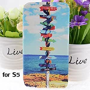 ZL Road Direction Pattern PU Leather Full Body Case with Stand for Samsung Galaxy S5 I9600