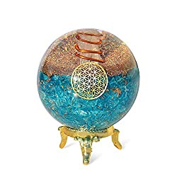Orgonite Crystal Blue Aquamarine Crystal Ball/Stand