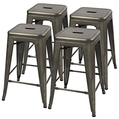 Furmax 24 Inches Gun Metal Stools High Backless Bar Stools Indoor-Outdoor Counter Height Stackable Stools(Set of 4)