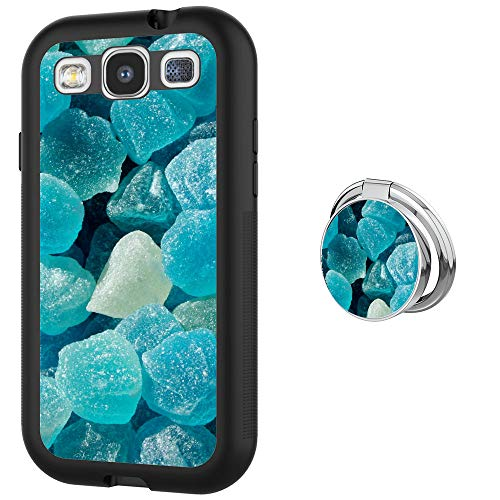Samsung Galaxy S3 Case with Buckle Ring 360° Rotatable Silvery Durable Ring Buckle, TPU Black Antiskid Tread Phone Case for Samsung Galaxy S3 ()