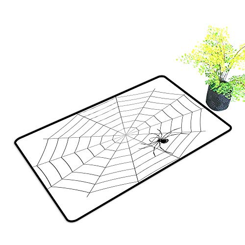 Outdoor Door mat Spider Web Toxic Poisonous Insect Thread Crawly Malicious Bug Halloween Character Design W35 xL59 with Anti-Slip Support Black White]()