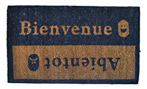 Imports Decor Vinyl Back Coir Doormat, Beinvenue-Abientot, 18-Inch by 30-Inch