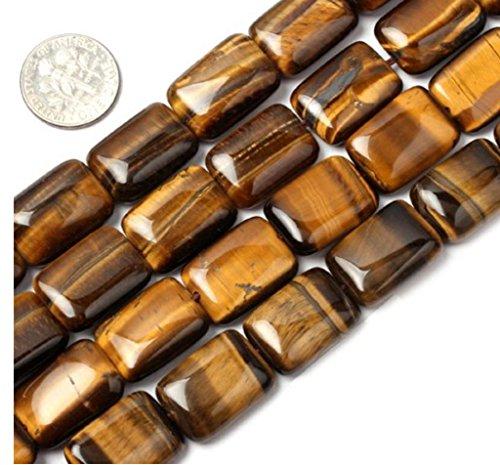 Tiger Eye Gemstone Beads 18x13mm Smooth Flat Rectangle Loose Beads 15.5