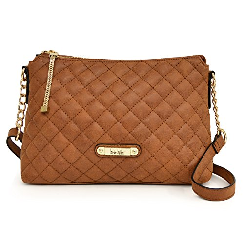 Nicole Miller New York Lena Quilted TZ Crossbody Handbag, Saddle, One Size Nicole Miller Womens Accessories