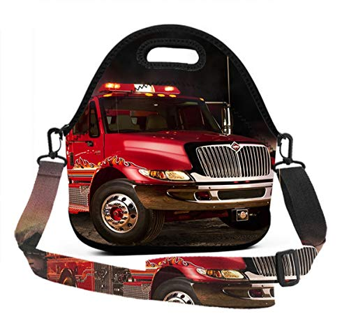 (Lunch Box With Meal Prep Containers/Insulated Lunch Bag Fire Truck Wallpaper Food Containers Lunch Box Bag For Meal Prep, Leak-Proof, Quick And Simple)