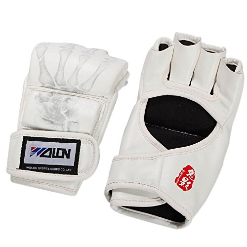 New Grappling MMA Gloves PU Punching Bag Boxing Gloves White #Y603 by Kwanchan