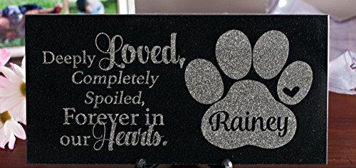 12 x 6 Engraved Granite Cat or Dog Memorial by Barefoot Design