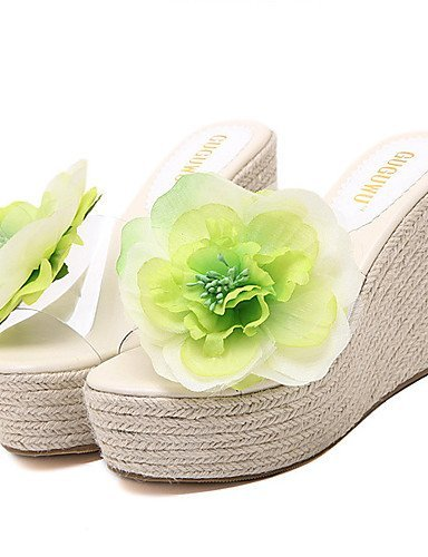 ShangYi Womens Shoes Silicone Wedge Heel Open Toe Sandals Dress Green / Pink Green