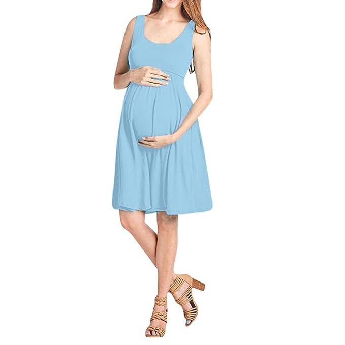 Keepwin Mujer Premamá Vestidos Ropa Corto Verano Lactancia Talla Grande (S, Azul#1