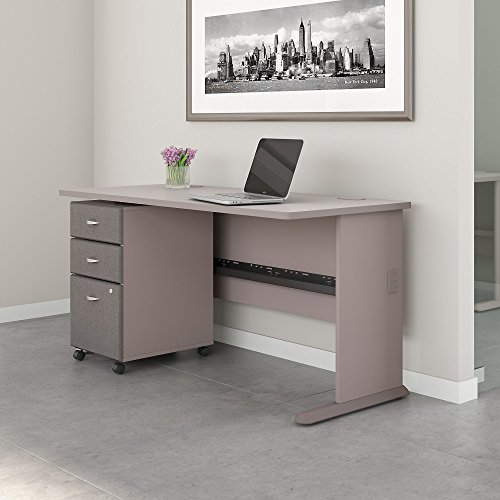 Bush Business Furniture Series A 60W Desk with Mobile File Cabinet in Pewter and White Spectrum