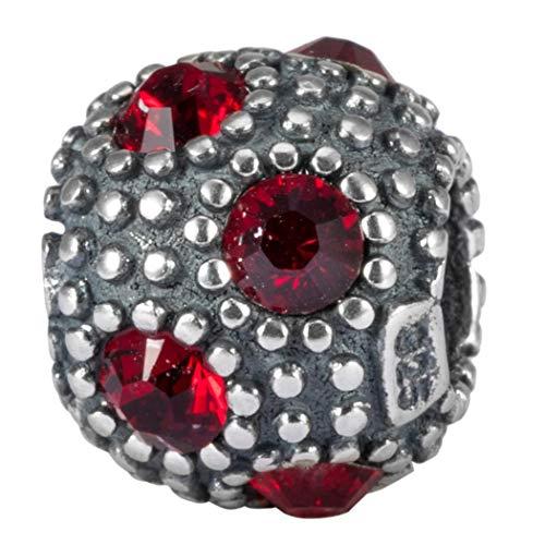 My Sunshine Sterling Silver Charm January Birthstone Bead Siam Swarovski Crystal fits All Charm Bracelet Women Girls Mother's Gifts EC570