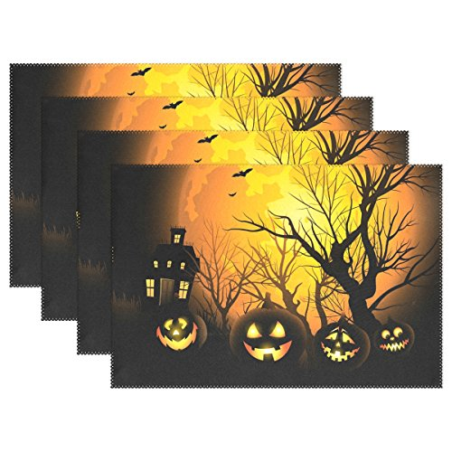 (4 PCS Halloween Pumpkin Washable Placemats Table Mats by AIDEESS, Woven Vinyl Table Mats Heat-resistant Non-slip Insulation Table Runner for Kitchen Dining Table)
