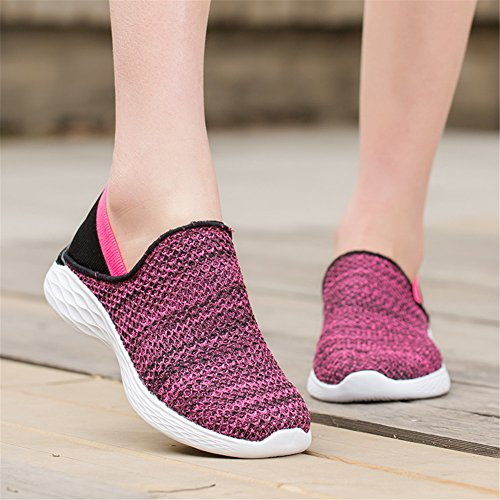 Scurtain Womens Casual Slip-on Gebreide Wandelschoenen Lichtgewicht Loafers Verpleegster Driving Shoes Rose