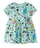 Little Girls Short Sleeve Dinosaur & Unicorn Print Cotton Dress(2-3 Years,Blue)