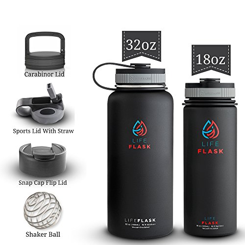 Life Flask Insulated Water Bottle, Stainless Steel Water Bottle + 3 Lids & Shaker Ball, Double Wall Vacuum Insulated Stainless Steel, Kid Safe (Black 18oz OR 32 oz) by Life Flask