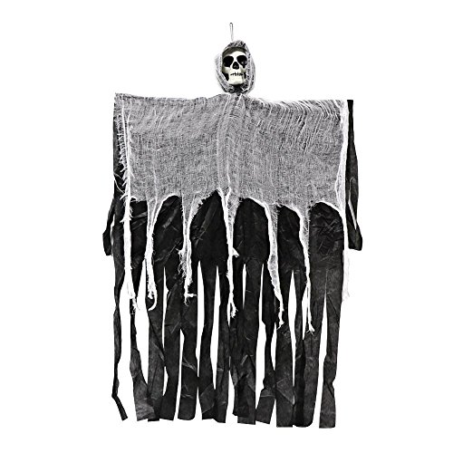 100cm Hanging Ghost Haunted House Grim Reaper Horror Props Halloween Decoration Black onesize