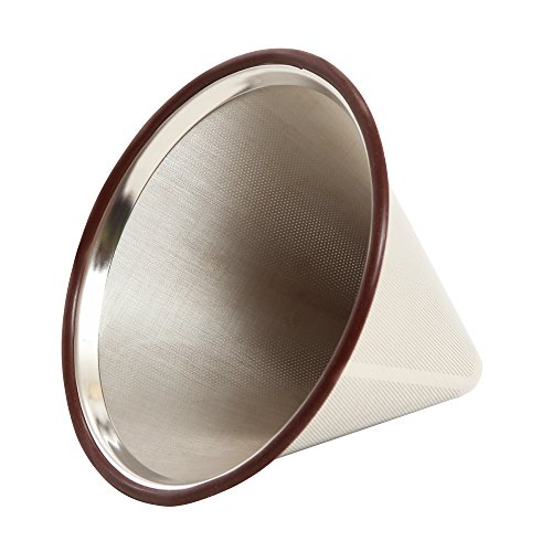 POUR OVER Coffee Filter for Chemex - Stainless Steel Reusable Premium Coffee Cone Dripper - Designed For Osaka, Chemex, Hario & Other Branded Carafes - Includes Cup Stand & Removable Rubber Grip ()