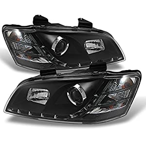 For Pontiac G8 Black Bezel DRL Daylight LED Projector Replacement Headlights Front Lamps Left/Right Pair