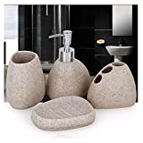 JruF Shaped Sandstone Household Items Bathroom Accessories Set, 4-Piece European Country Style Bathroom Accessories With Lotion Bottle, Toothbrush Holder, Tumbler, Soap Dish, Milky White