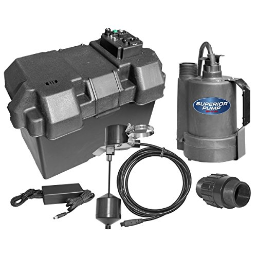 Superior Pump 92910 12V Battery Back Up Submersible Sump Pump with Vertical Switch 12v Ac Backup Sump Pump