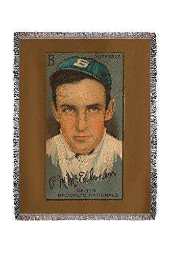 Lantern Press Brooklyn Superbas - Pryor McElveen - Baseball Card 21917 (60x80 Woven Chenille Yarn Blanket)