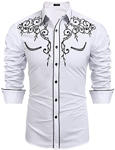 COOFANDY Men's Long Sleeve Shirt Embroidery Slim Fit Casual Button Down Shirt,01-white,Medium (Western Show Shirts Men)