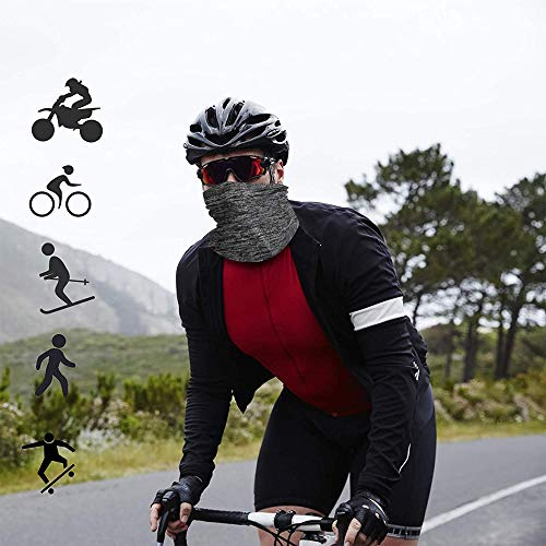 CESHUMD Face Cover Neck Gaiter Multifunctional Headwear Bandana Headband Scarf,Sunscreen and UV Protection Bandana,Balaclava, Neck Tube Scarf for Yoga,Cycling,Running (Grey)