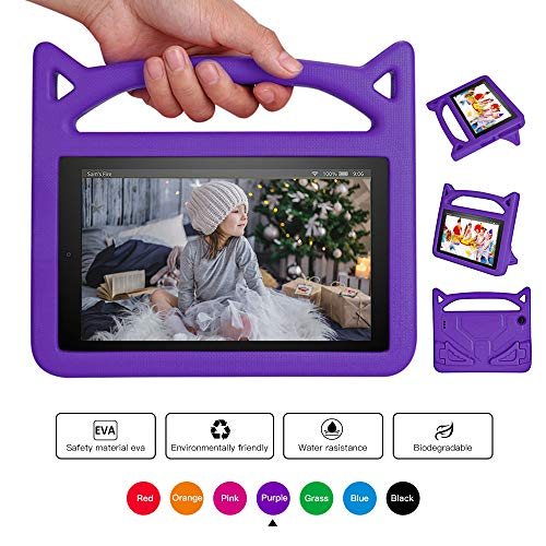 Fire 7 Tablet Case for Kids, Mr. Spades - Kids Shock Proof Handle Stand Kid-Proof Case for All Amazon Fire 7 inch Display Tablet Cover(2015&2017 Release) (purple2)