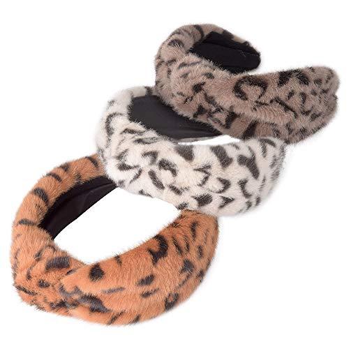 Leopard Plush Velvet Wide Headbands Knot Turban Headband Vintage Hairband with Elastic Hair Hoops Fashion Hair Accessories for Women