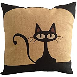 "Onker Cotton Linen Square Decorative Throw Pillow Case Cushion Cover 18"" x 18"" Black Cat"